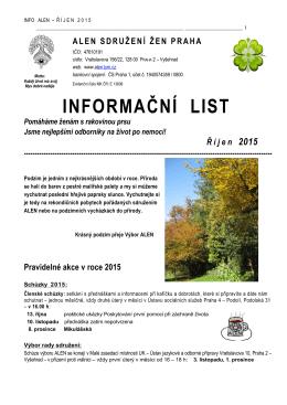 Informační list říjen/2015