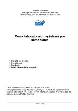 Ceník laboratorních vyšetření - Masarykova městská nemocnice v