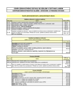 Platný ceník administrativních a zdravotnických úkonů