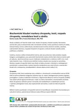 Biochemické kloubní markery chrupavky, kosti, rozpadu chrupavky