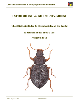 Checklist Latridiidae & Merophysiidae of the World.
