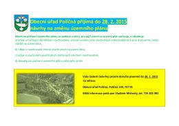 Obecní úřad Poličná přijímá do 28. 2. 2015 návrhy na změnu