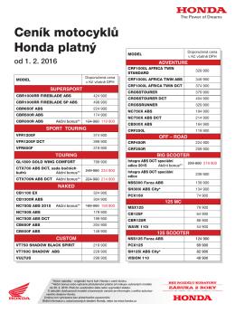 Ceník motocyklů Honda platný od 1. 10. 2015