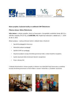 Název projektu: Zvyšování kvality ve vzdělávání ORP Židlochovice