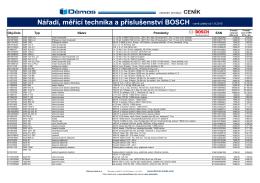 """Ceník profesionální """"modré řady"""" nářadí Bosch + měřící technika +"""