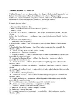 Tematické okruhy k SZZK z EKDD - Evropské kulturní a duchovní