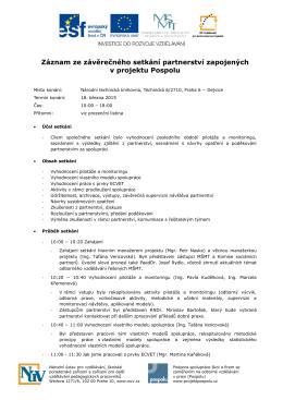 Záznam ze závěrečného setkání partnerství zapojených v projektu