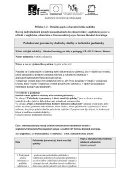 Požadované parametry dodávky služby a technické podmínky