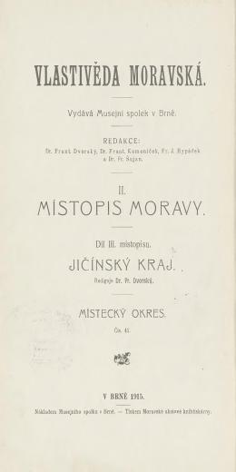 Vlastivěda moravská - Jičínský kraj - Místecký okres