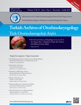 Turkish Archives of Otorhinolaryngology