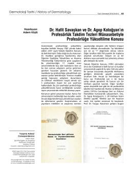 Dr. Hafit Savaşkan ve Dr. Agop Kotoğyan`ın Profesörlük Takdim