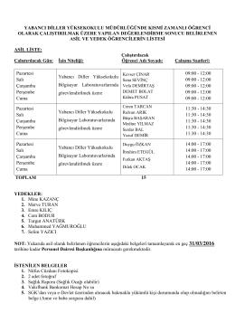 Yabancı Diller Yüksekokulu Müdürlüğü