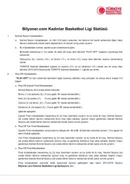 Bilyoner.com Kadınlar Basketbol Ligi Statüsü
