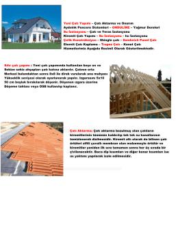 Yeni Çatı Yapımı – Çatı Aktarma ve Onarım