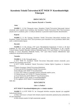 Yönerge - KTÜ TV - Karadeniz Teknik Üniversitesi