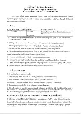 Aksaray İl Özel İdaresi Sözleşmeli Personel (Avukat)