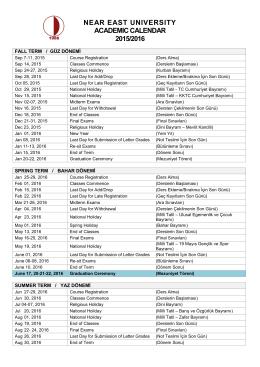near east unıversıty academıc calendar 2015/2016