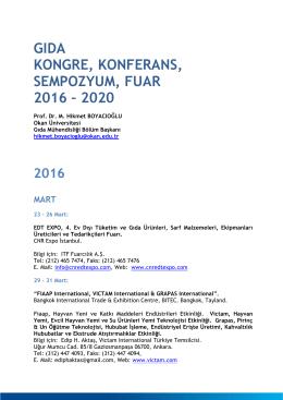 gıda kongre, konferans, sempozyum, fuar 2016