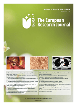 Table of Contents - The European Research Journal – The