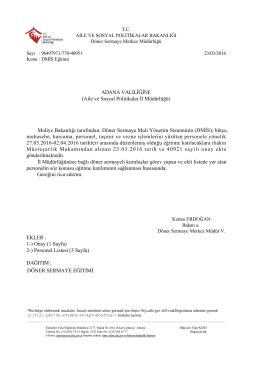 Dmis Eğitim Yazısı - Döner Sermaye Merkez Müdürlüğü