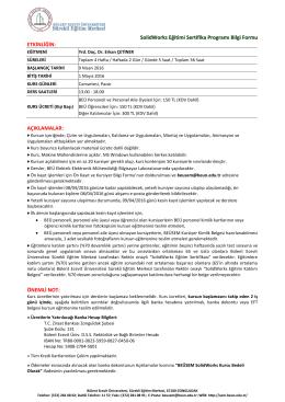 SolidWorks Eğitimi Sertifika Programı Bilgi Formu