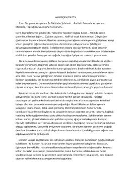 HAYKIRIŞIN FISILTISI Esen Rüzgarına Yazıyorum Bu Mektubu
