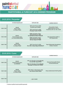 PAINTISTANBUL & TURKCOAT 2016 SEMINER PROGRAMI 24.03