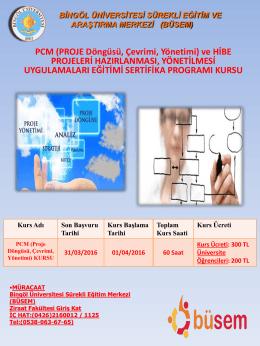 PCM (PROJE Döngüsü, Çevrimi, Yönetimi)