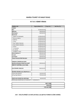 Sigorta Teminatları - Manisa Ticaret ve Sanayi Odası
