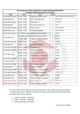 TASLAK-IV 21.03.2016 - Endüstriyel Tasarım Mühendisliği Bölümü