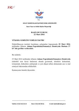 22.03.2016 Adana-Toprakkale hattı yüksek gerilim verilmesi