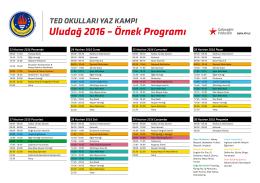uludağ 2016 – Örnek programı