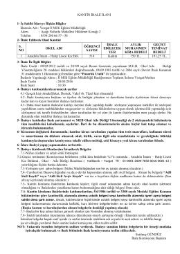 KANTİN İHALE İLANI 1 - yozgat il millî eğitim müdürlüğü