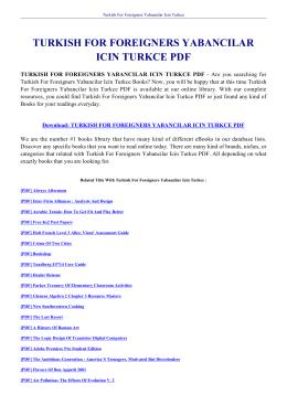turkısh for foreıgners yabancılar ıcın turkce pdf