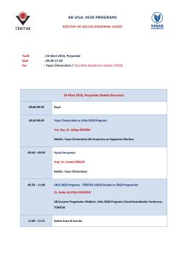 24 Mart 2016, Perşembe Saat - AB Horizon 2020 Çerçeve Programı