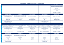 BÜMED MEÇ Okulları  Nisan 2016   Yemek Listesi