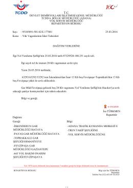 25.03.2016 - Devlet Demir Yollari 6.Bölge