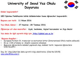 University of Seoul Yaz Okulu Duyurusu