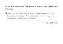 HKUK 428 Uluslararası Özel Hukuk II Dersini Alan Öğrencilerin