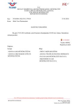 27.03.2016 - Devlet Demir Yollari 6.Bölge