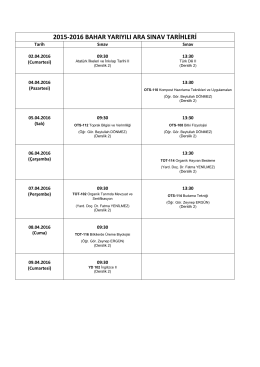 2015-2016 bahar dönemi ara sınav takvimi