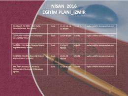 izmir nisan ayı eğitim planı 2016
