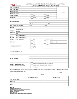asdep görevlisi başvuru formu - Antalya Aile ve Sosyal Politikalar İl