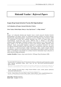 Hakemli Yazılar / Referred Papers
