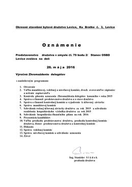 Výročné zhromaždenie delegátov - oznámenie