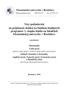 Bratislava 2016 - Ekonomická univerzita v Bratislave