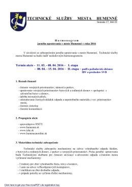Jarné upratovanie 2016 - Technické služby mesta Humenné