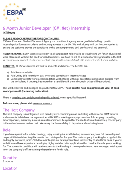 6 Month Junior Developer (C# .Net) Internship