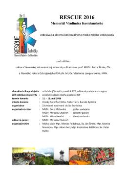 Program podujatia - Záchranná zdravotná služba Bratislava