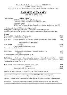 farské oznamy - Obec Drahovce